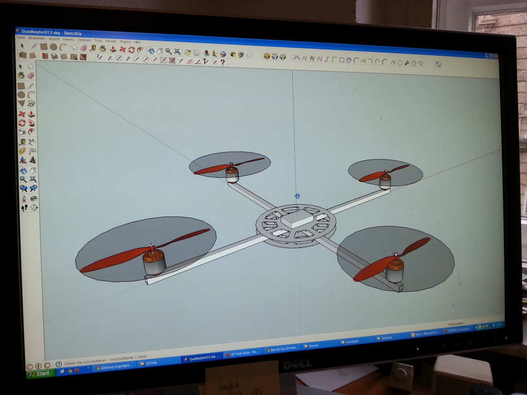 Quadcopter Platform SketchUp on Screen