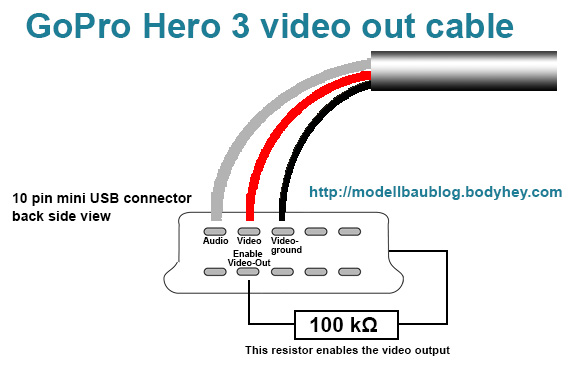 gopro hero3 black edition diy live video out cable alex rc gopro3 video out connection plan